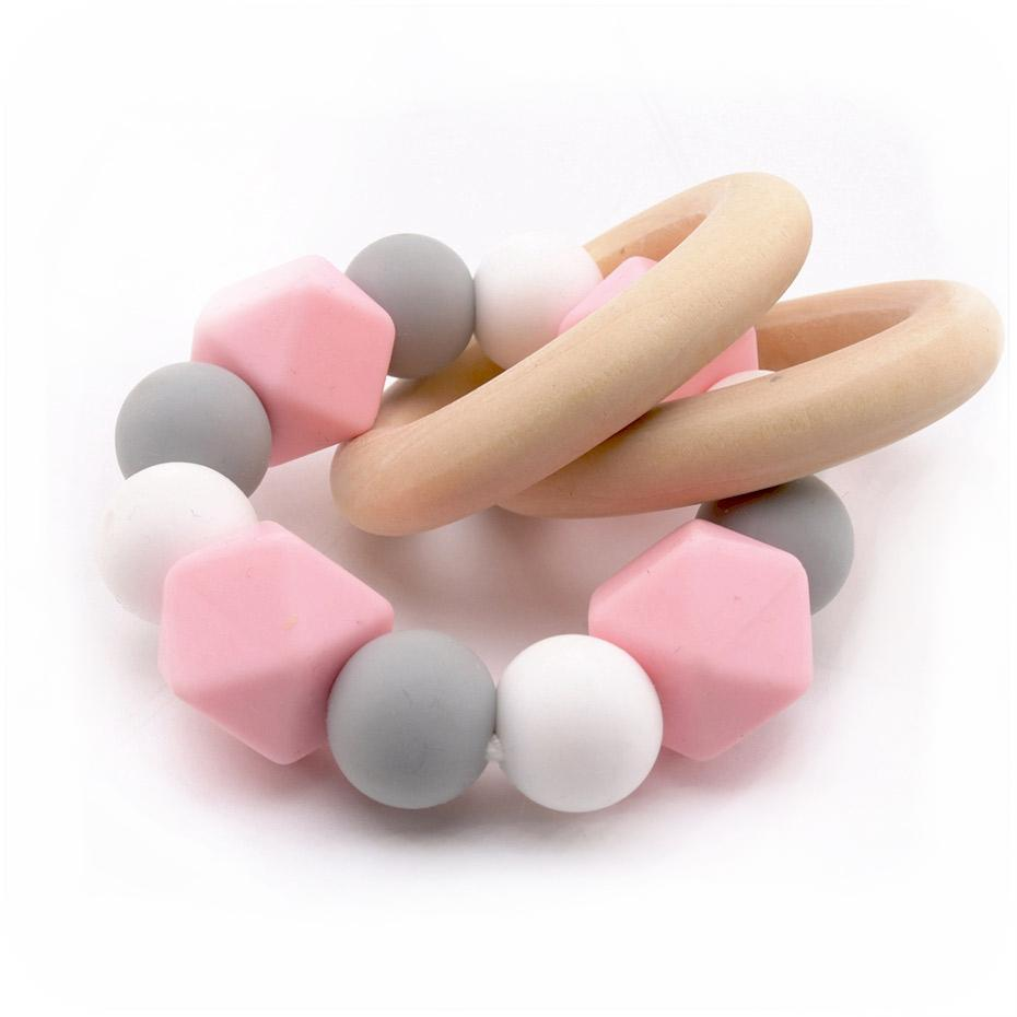 Wooden Silicone Teether Ring : Pink Grey White