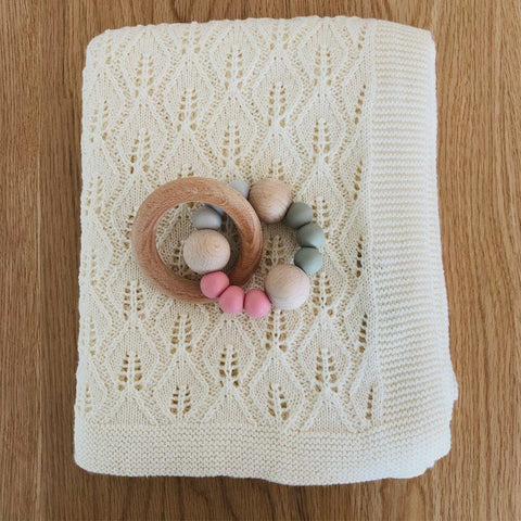 Wooden Silicone Teether Ring : Rose / Sage Teether Ecosprout