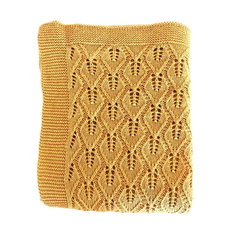 Vintage Cotton Baby Blanket: Ochre
