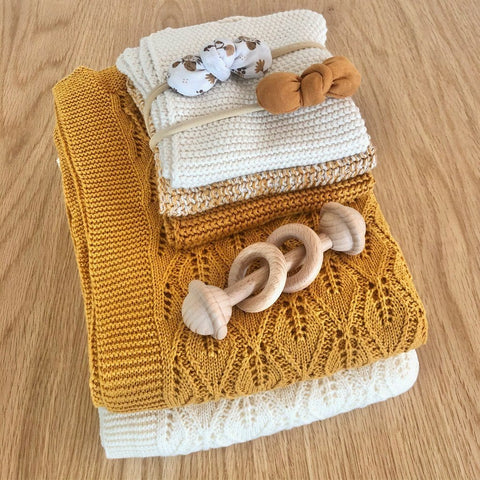 Vintage Cotton Baby Blanket: Ochre Blanket Ecosprout