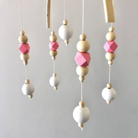 Nordic Style Wooden Baby Mobile : Pink Wallhangings Ecosprout