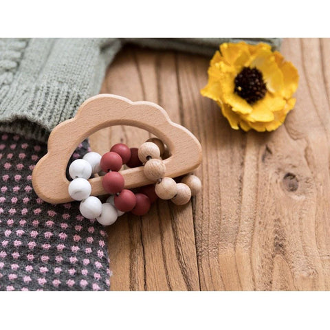 Wooden Cloud Teether Rattle : Nutmeg