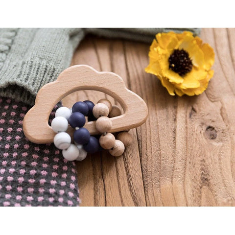 Wooden Cloud Teether Rattle : Blueberry Teether Ecosprout