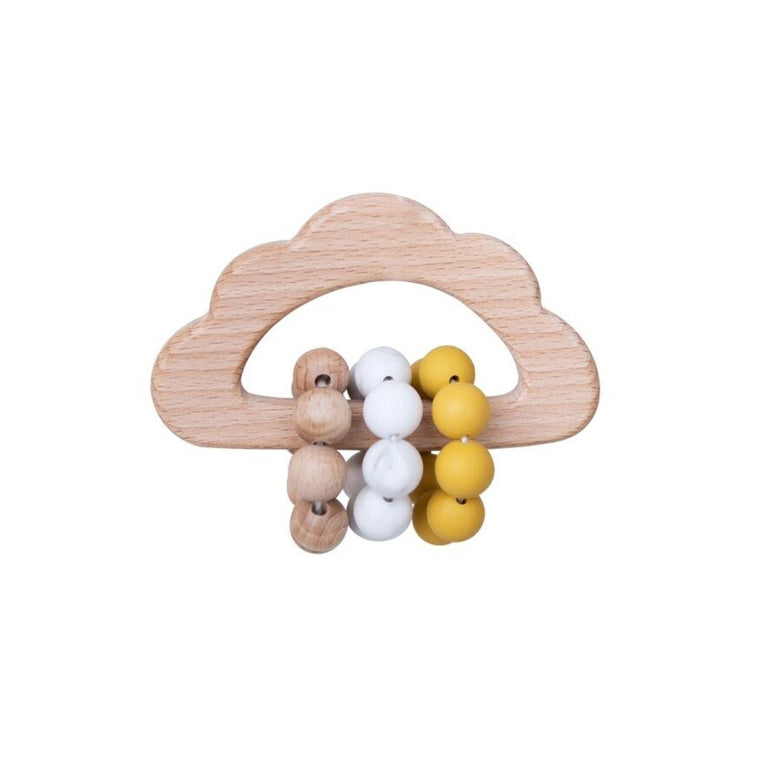 Wooden Cloud Teether Rattle : Ochre