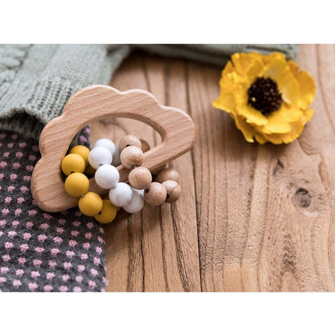 Wooden Cloud Teether Rattle : Ochre Teether Ecosprout