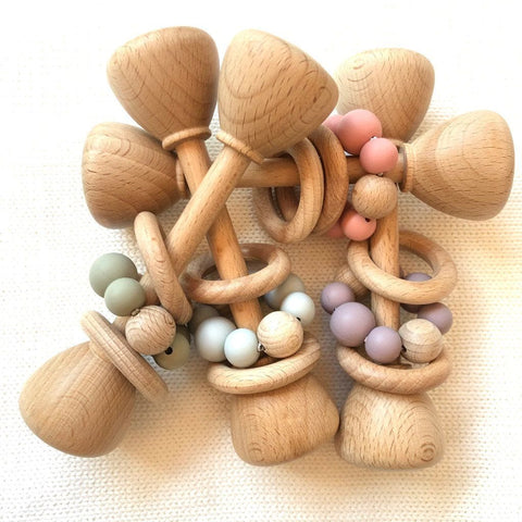 Montessori Toy - Wooden Rattle with 2 Wood Rings : Mauve Toys Ecosprout