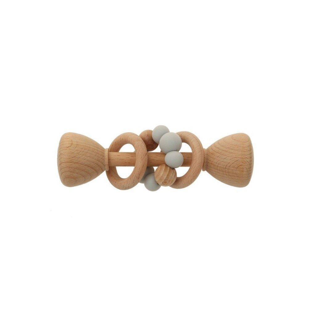 Montessori Toy - Wooden Rattle with 2 Wood Rings : Grey Toys Ecosprout