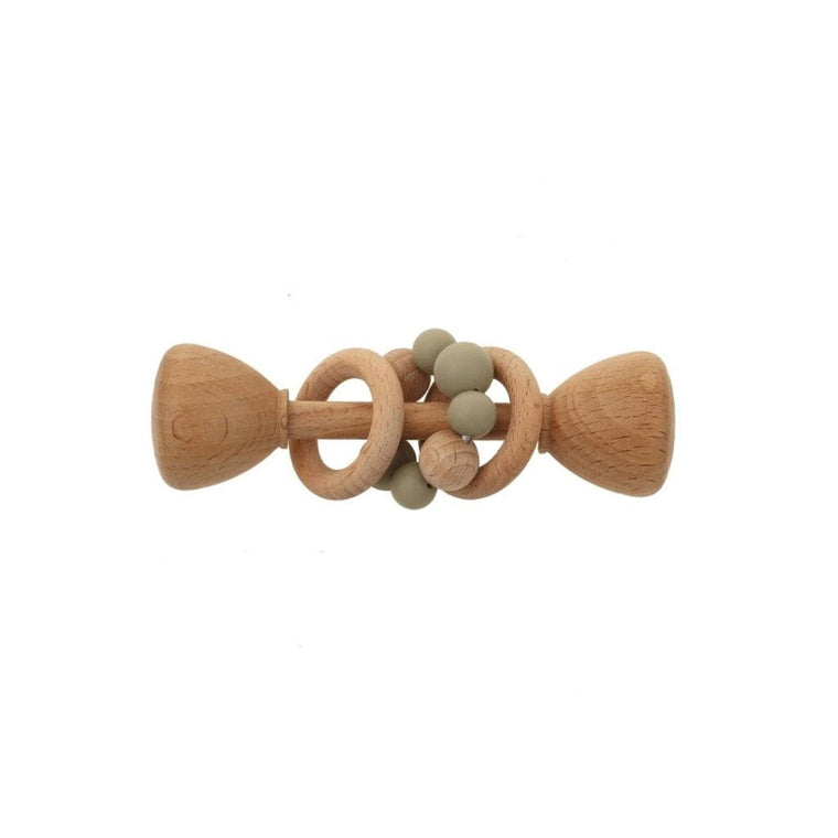 Montessori Toy - Wooden Rattle with 2 Wood Rings : Sage