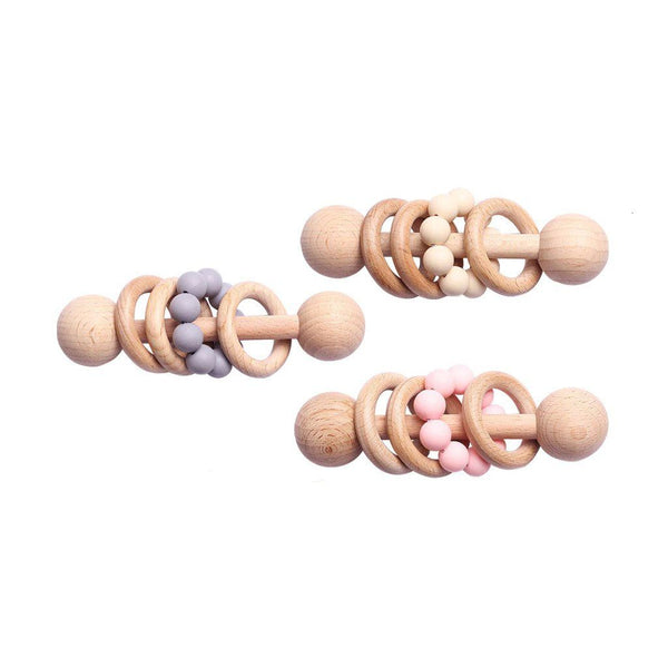 Montessori Toy - Wooden Rattle with 3 Wood Rings : Beige Toys Ecosprout