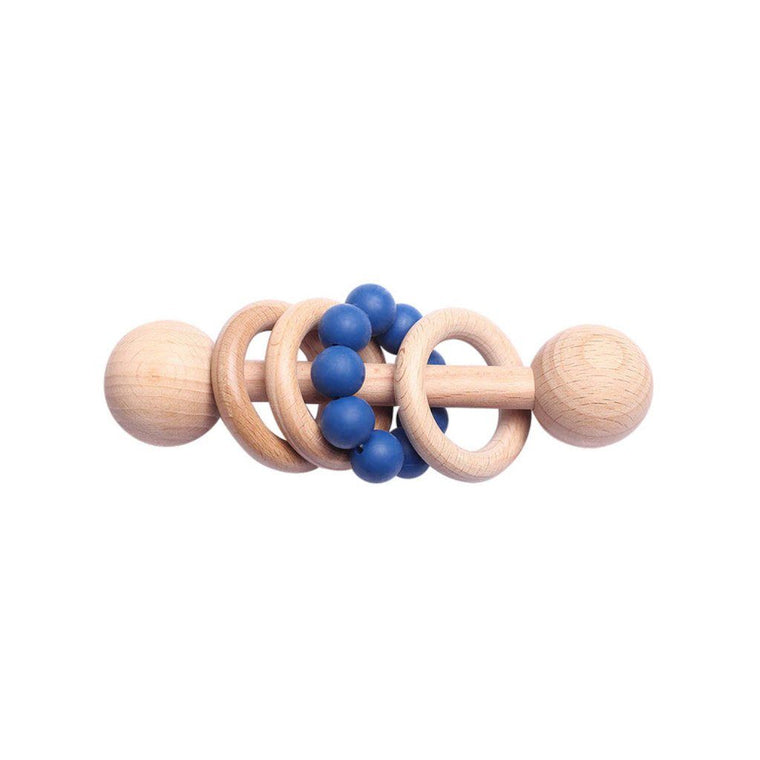 Montessori Toy - Wooden Rattle with 3 Wood Rings : Midnight Blue
