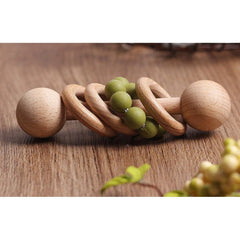 Montessori Toy - Wooden Rattle with 3 Wood Rings : Olive Toys Ecosprout