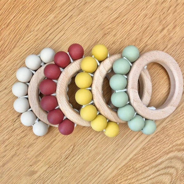 Wooden Silicone Bead Ring Teether : Ochre Teether Ecosprout
