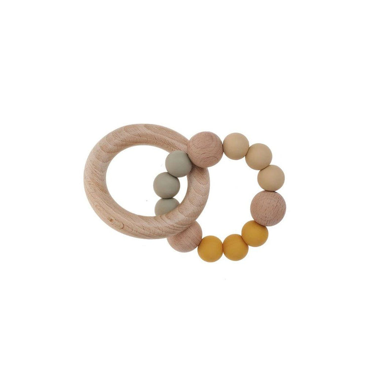 Wooden Silicone Teether Ring : Ochre / Sage