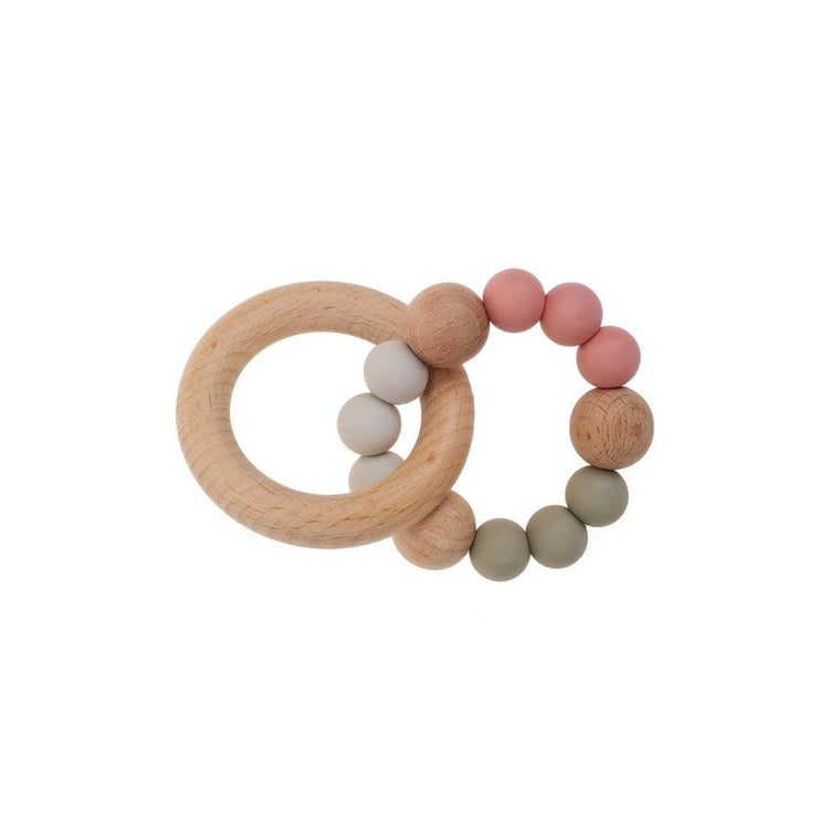 Wooden Silicone Teether Ring : Rose / Sage