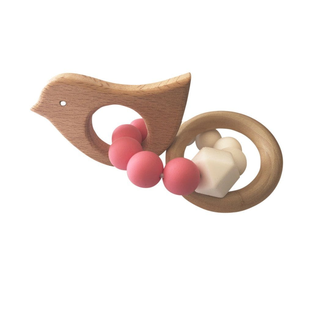 Wooden Silicone Teether Ring : Chirpy Bird Pink Teether Ecosprout
