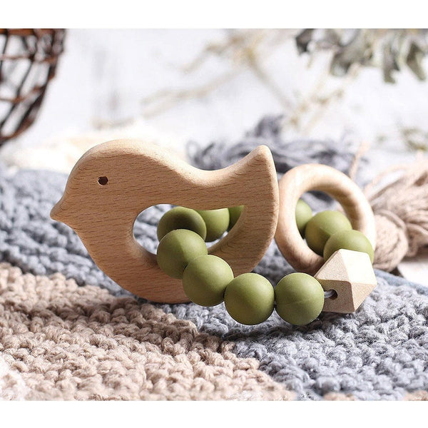 Wooden Silicone Teether Ring : Bird - Olive Teether Ecosprout
