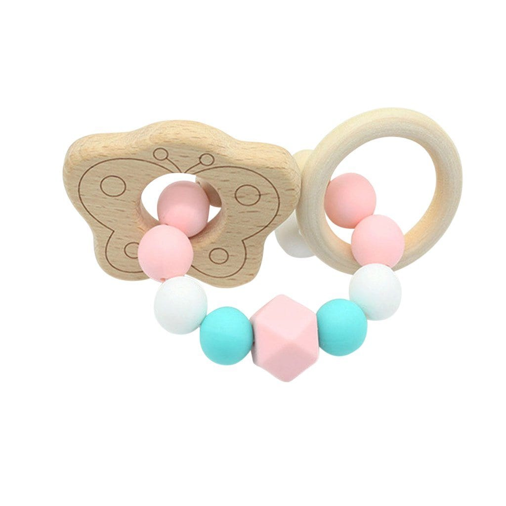 Wooden Silicone Teether Ring : Butterfly Teether Ecosprout