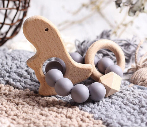 Wooden Silicone Teether Ring : Dino - Grey Teether Ecosprout