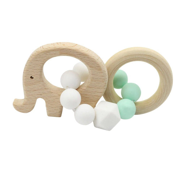Wooden Silicone Teether Ring : Elephant