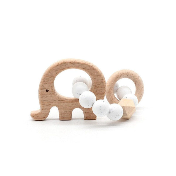 Wooden Silicone Teether Ring : Elephant - White Speckle Teether Ecosprout