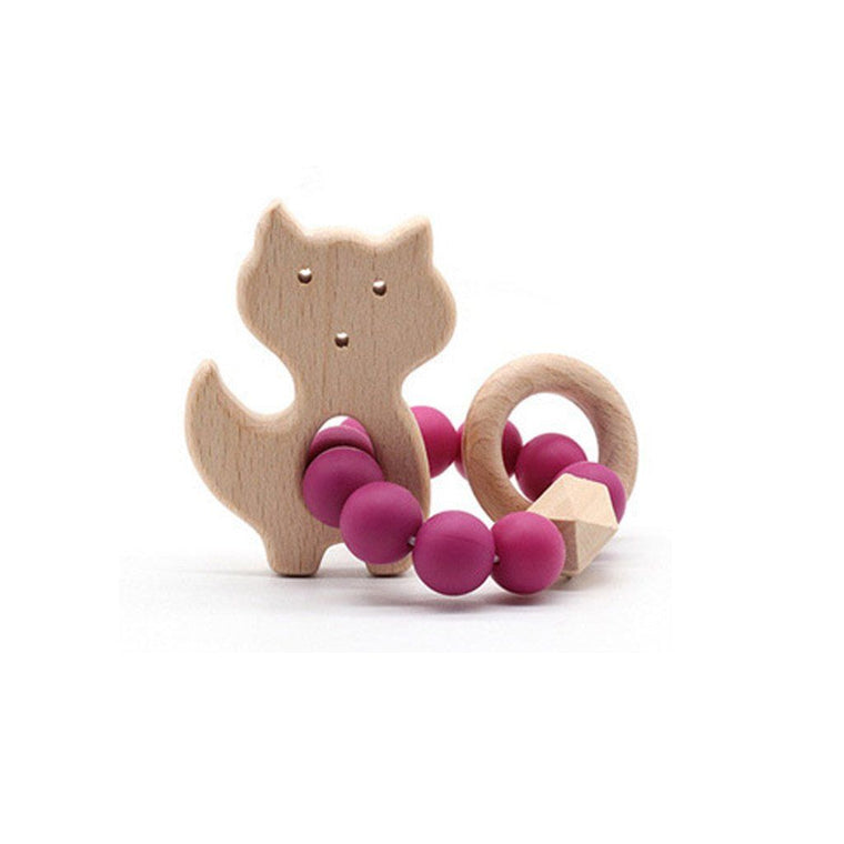 Wooden Silicone Teether Ring : Cat - Magenta