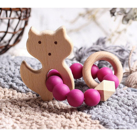 Wooden Silicone Teether Ring : Fox - Magenta Teether Ecosprout