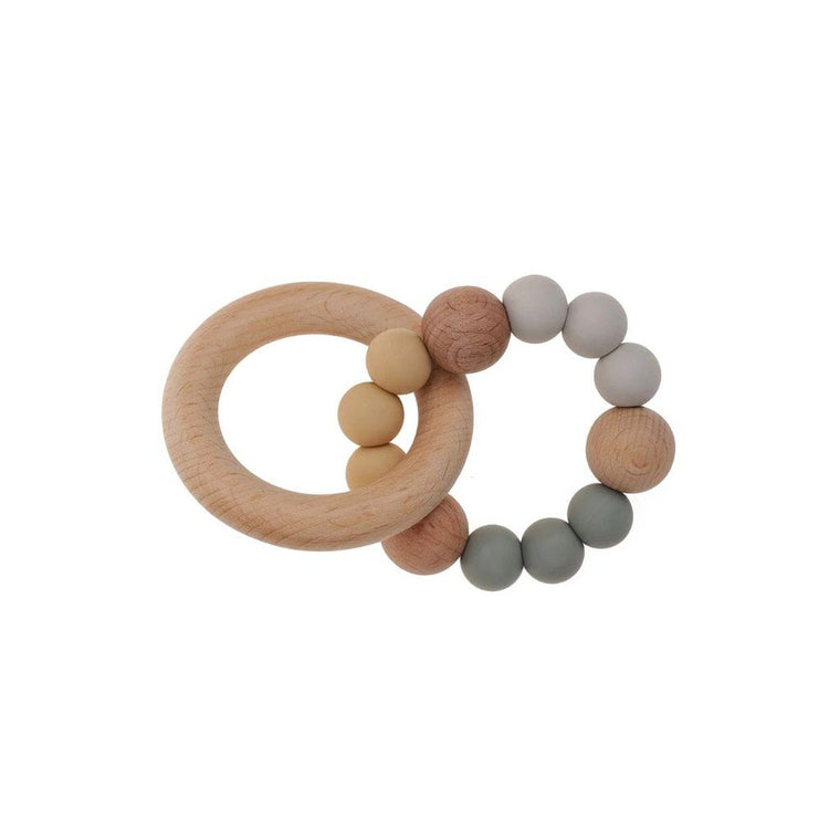 Wooden Silicone Teether Ring : Grey / Oatmeal