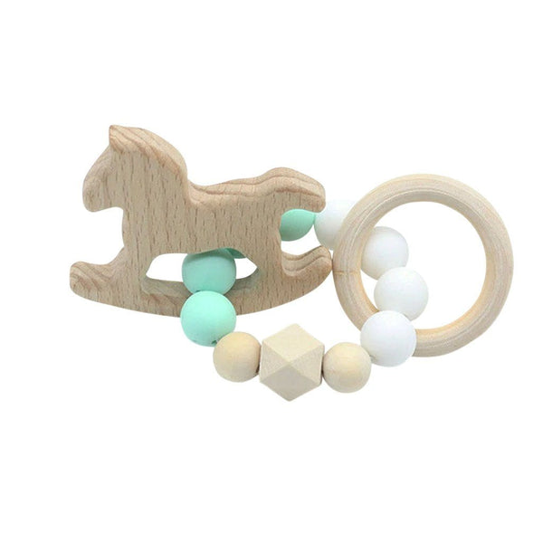 Wooden Silicone Teether Ring : Rocking Horse