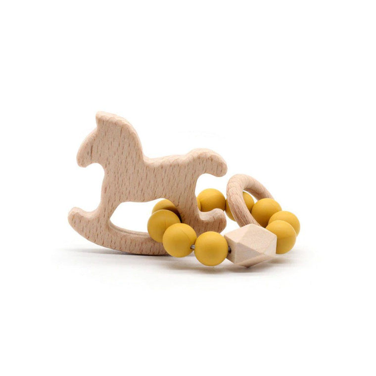 Wooden Silicone Teether Ring : Rocking Horse - Ochre