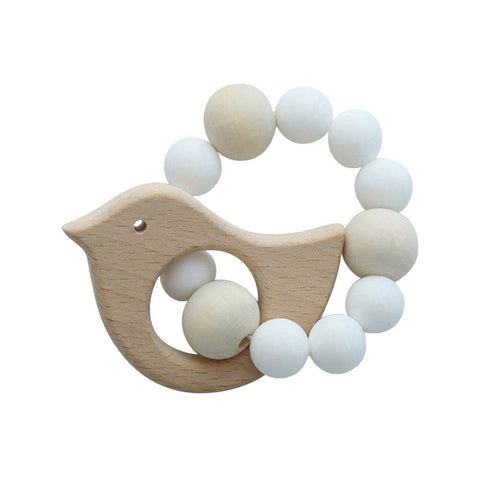 Wooden Silicone Teether Ring : Bird