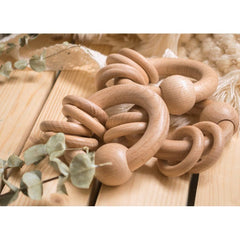 Montessori Toy - Wooden Ring Rattle Teether Toys Ecosprout