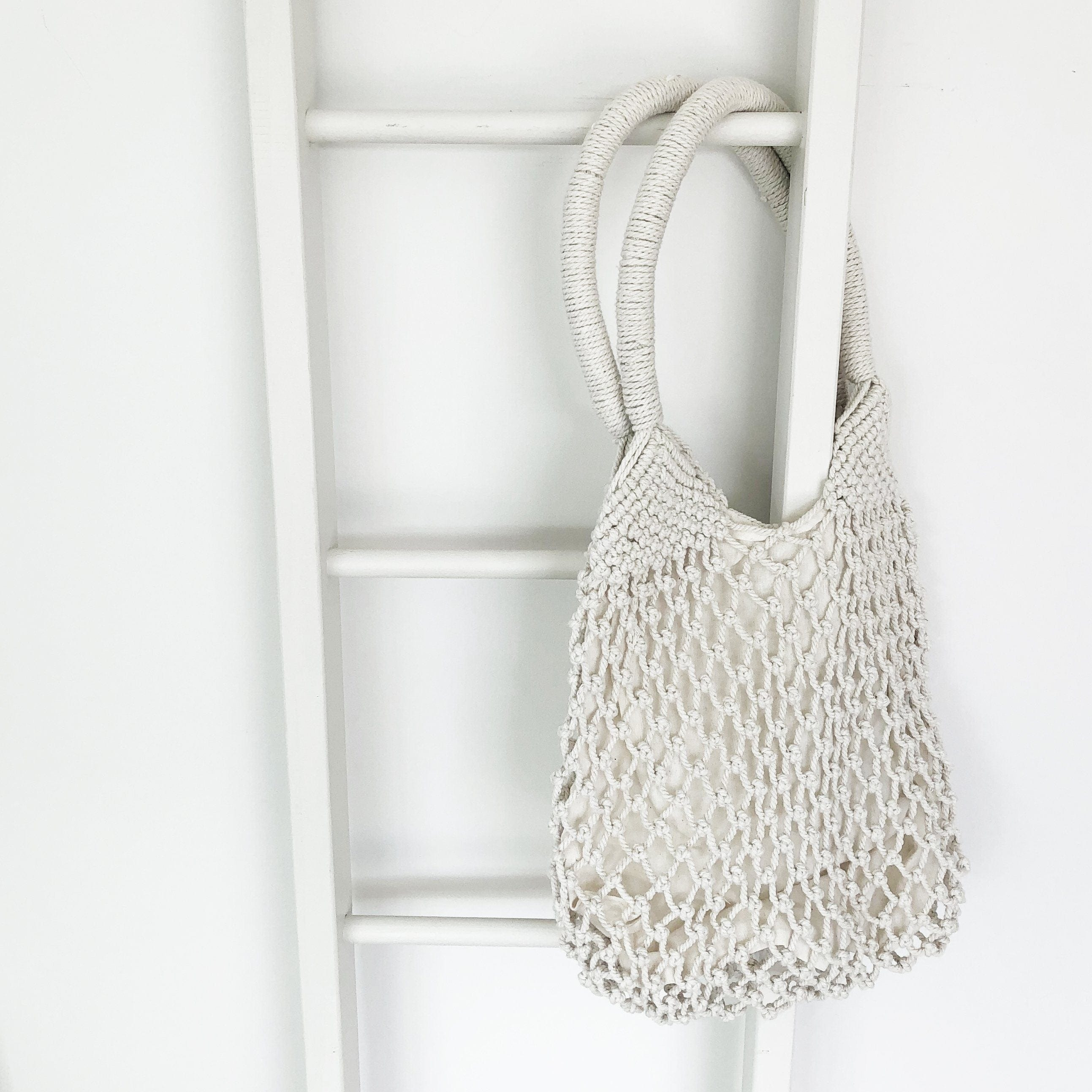 Hand Crocheted Lined Cotton Bag