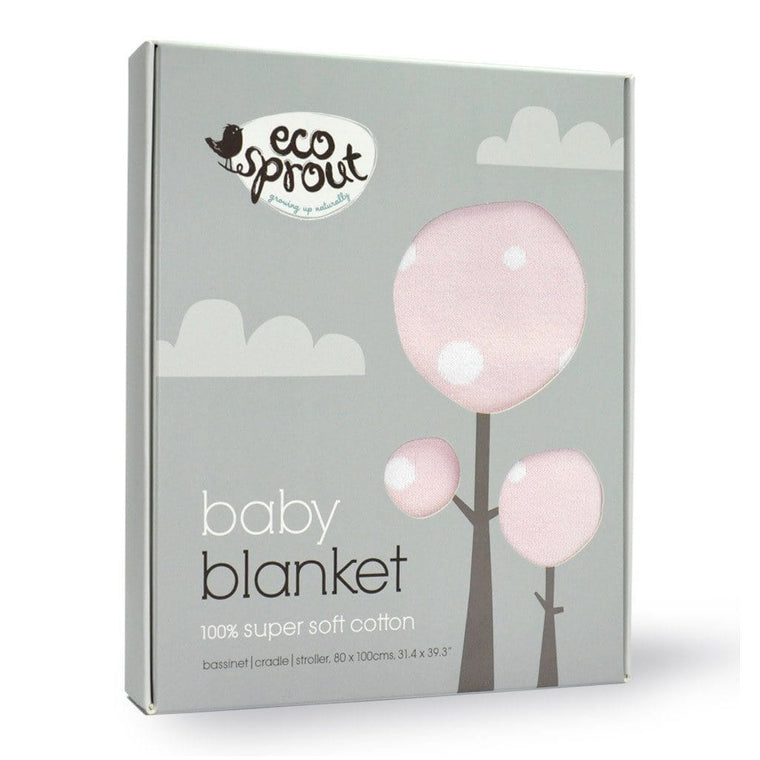 Ecosprout Bassinet Baby Blanket Cotton - Polka Pop Coconut Ice
