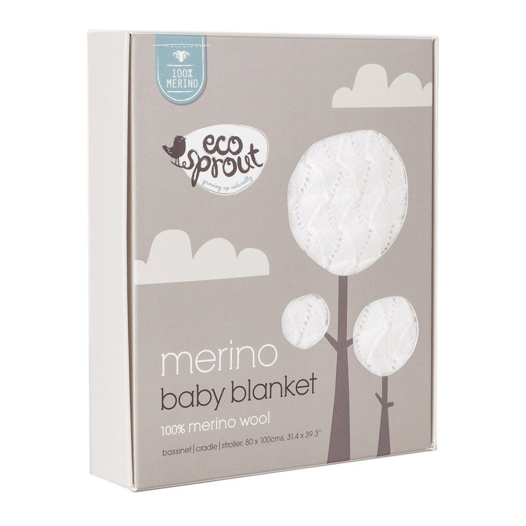 Super soft Merino baby bassinet blanket with vintage pattern in natural, packaging