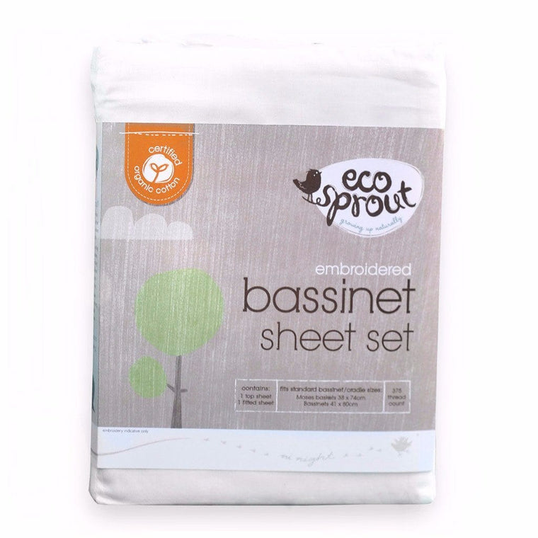 Ecosprout Sheets Bassinet SET - Certified Organic - EMBROIDERED