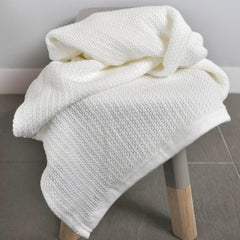 Organic Cotton Cellular Baby Bassinet Blanket in Natural - display