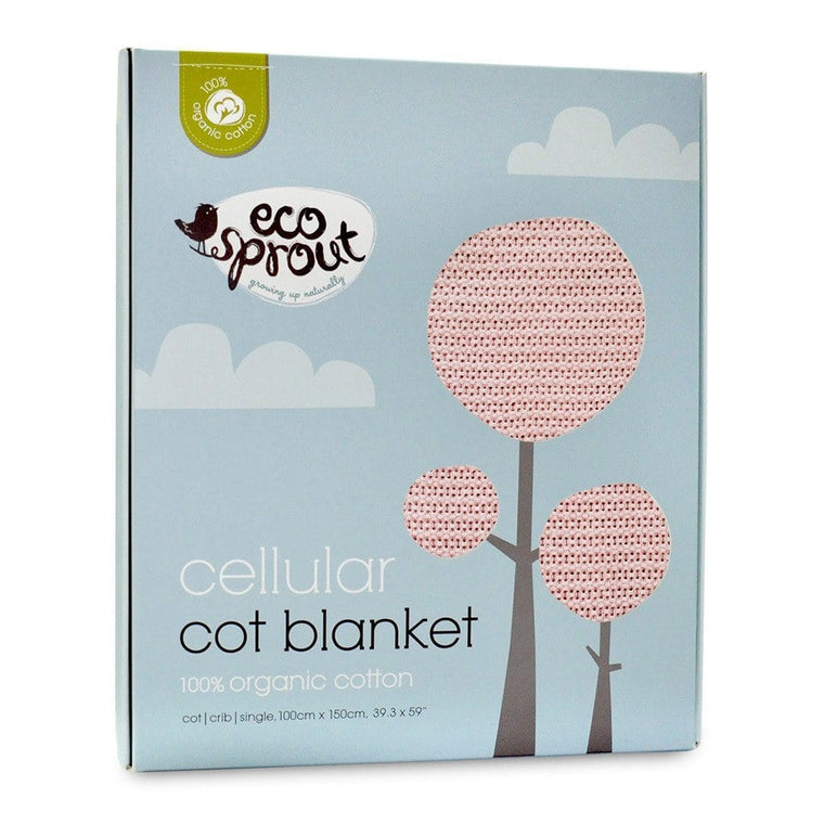 Ecosprout Organic Cotton Cellular Cot Blanket - Powder Pink