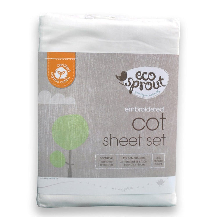 Ecosprout Sheets Cot SET- Certified Organic - EMBROIDERED