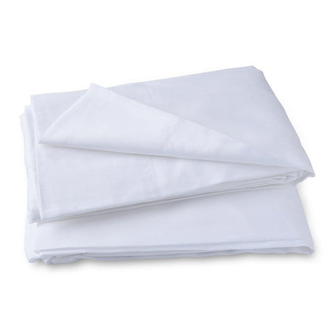 Organic Cotton Cot Sheet Set in White - Folded