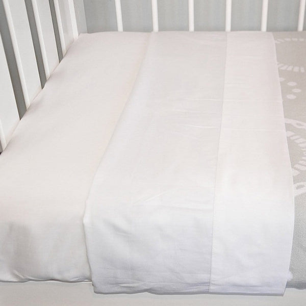 Organic Cotton Cot Sheet Set in White - Lifestyle