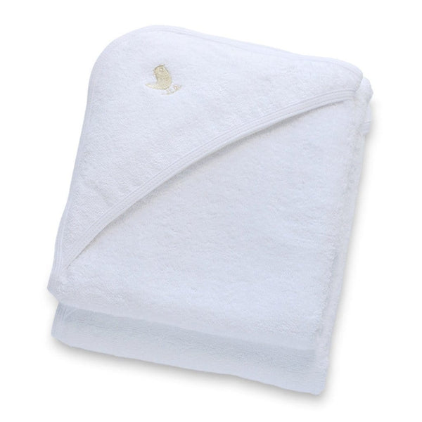 Organic Cotton Hooded Baby Towel 2 Pack in White - Folded
