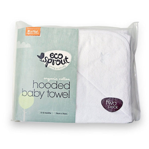 Organic Cotton Hooded Baby Towel 2 Pack in White - Packaging