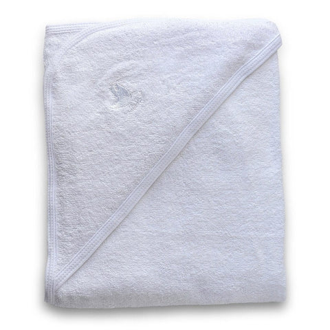 Organic Cotton Hooded Baby Towel in White - Folded