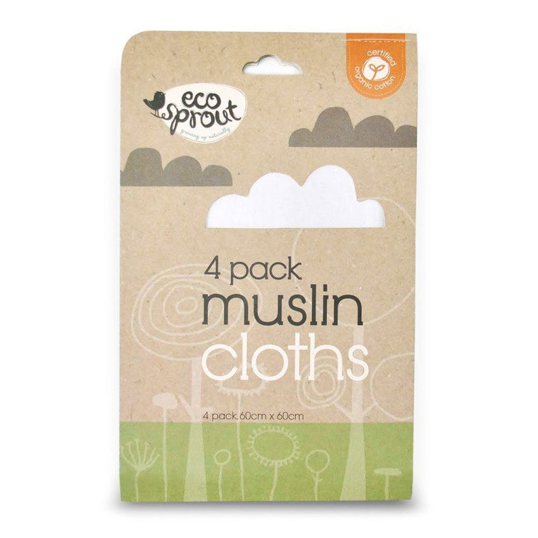 Ecosprout Muslin Burp Cloths - 4 Pack