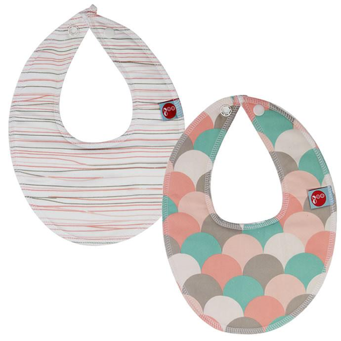 Goo Organic Cotton Dribble Bib 2 Pack - Pink Pencil Lines and Gelati Pink