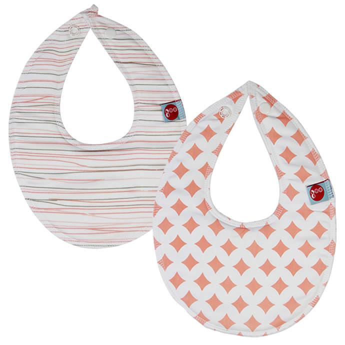 Goo Organic Cotton Dribble Bib 2 Pack - Lattice Pink and Pencil Lines Pink