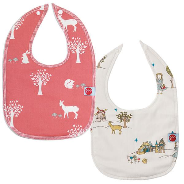 Goo Organic Cotton Baby Bib 2 Pack - Field Friends Coral and Field Stroll