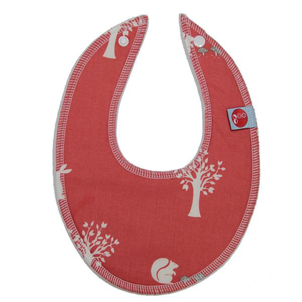 Goo Organic Cotton Dribble Bib - Field Friends Coral - Ecosprout - New Zealand