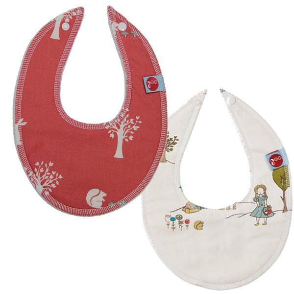 Goo Organic Cotton Dribble Bib 2 Pack - Field Friends Coral & Field Stroll - Ecosprout - New Zealand