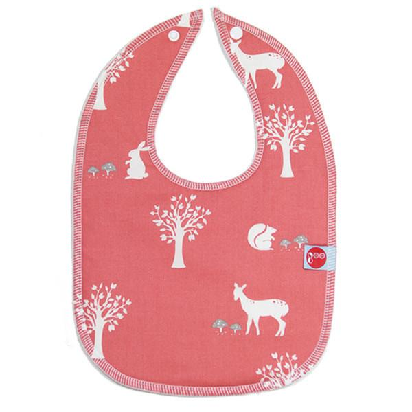 Goo Organic Cotton Baby Bib - Field Friends Coral - Ecosprout - New Zealand